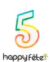 Bougie chiffre blanche pailletée bord multicolore, image 6