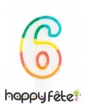 Bougie chiffre blanche pailletée bord multicolore, image 7