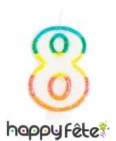 Bougie chiffre blanche pailletée bord multicolore, image 9