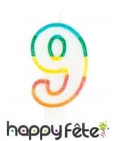 Bougie chiffre blanche pailletée bord multicolore, image 10