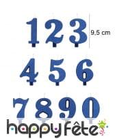 Bougie chiffre bleue à paillettes de 9,5 cm