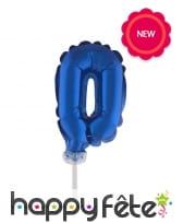 Ballon chiffre cake topper bleu foncé de 12cm, image 1