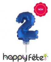 Ballon chiffre cake topper bleu foncé de 12cm, image 3