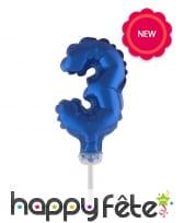 Ballon chiffre cake topper bleu foncé de 12cm, image 4