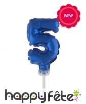Ballon chiffre cake topper bleu foncé de 12cm, image 6