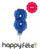 Ballon chiffre cake topper bleu foncé de 12cm, image 9