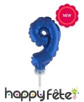 Ballon chiffre cake topper bleu foncé de 12cm, image 10