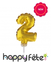 Ballon chiffre cake topper doré de 12cm, image 3