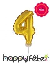 Ballon chiffre cake topper doré de 12cm, image 5