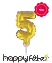 Ballon chiffre cake topper doré de 12cm, image 6