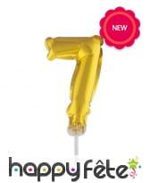 Ballon chiffre cake topper doré de 12cm, image 8