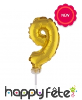 Ballon chiffre cake topper doré de 12cm, image 10