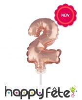 Ballon chiffre cake topper rose or de 12cm, image 4