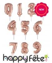 Ballon chiffre cake topper rose or de 12cm