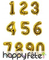 Ballon chiffre doré de 85 cm