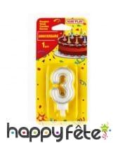 Bougie chiffre d'anniversaire avec bobèche, image 3