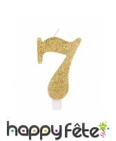 Bougie chiffre dorée à paillettes de 9,5cm, image 8
