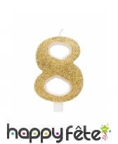 Bougie chiffre dorée à paillettes de 9,5cm, image 9