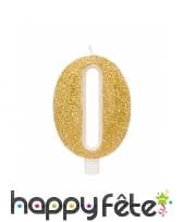 Bougie chiffre dorée à paillettes de 9,5cm, image 1