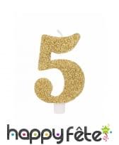 Bougie chiffre dorée à paillettes de 9,5cm, image 6