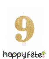 Bougie chiffre dorée à paillettes de 9,5cm, image 10