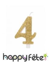 Bougie chiffre dorée à paillettes de 9,5cm, image 5