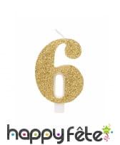Bougie chiffre dorée à paillettes de 9,5cm, image 7