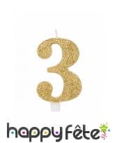 Bougie chiffre dorée à paillettes de 9,5cm, image 4