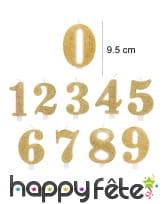 Bougie chiffre dorée à paillettes de 9,5cm