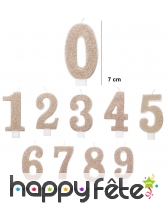 Bougie chiffre dorée pailletée de 7 cm