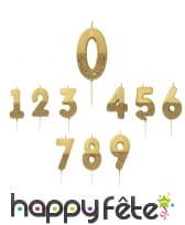 Bougie chiffre dorée pailletée sur pique, 13,8 cm