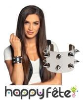 Bracelet clouté en métal argenté pour adulte, image 1