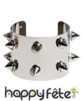 Bracelet clouté en métal argenté pour adulte