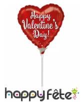 Ballon coeur happy Valentine's day rouge de 23 cm