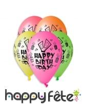 Ballons colorés imprimé Happy Birthday, par 5