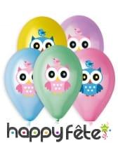 Ballons colorés imprimé hibou, par 5