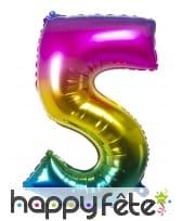 Ballon chiffre multicolore en alu de 36 cm, image 6
