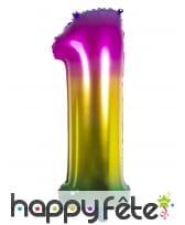 Ballon chiffre multicolore en alu de 86 cm, image 2