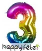 Ballon chiffre multicolore en alu de 86 cm, image 4
