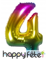 Ballon chiffre multicolore en alu de 86 cm, image 5