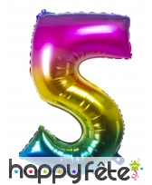 Ballon chiffre multicolore en alu de 86 cm, image 6