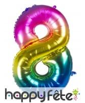 Ballon chiffre multicolore en alu de 86 cm, image 9