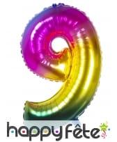 Ballon chiffre multicolore en alu de 86 cm, image 10