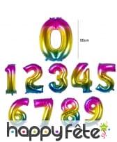 Ballon chiffre multicolore en alu de 86 cm