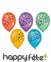 Ballons colorés motifs confetti, par 5