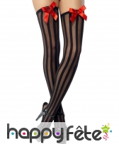Bas charleston noirs avec noeud rouge
