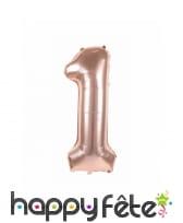 Ballon chiffre rose métallisé, 36 cm, image 2