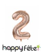 Ballon chiffre rose métallisé, 36 cm, image 3