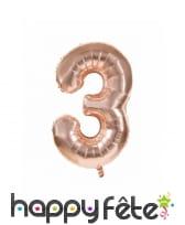 Ballon chiffre rose métallisé, 36 cm, image 4