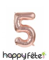 Ballon chiffre rose métallisé, 36 cm, image 6